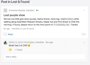 screenshot of my post to Nextdoor